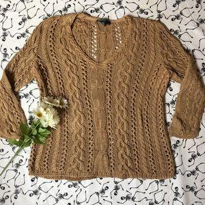 Lauren Ralph Lauren tan crochet top